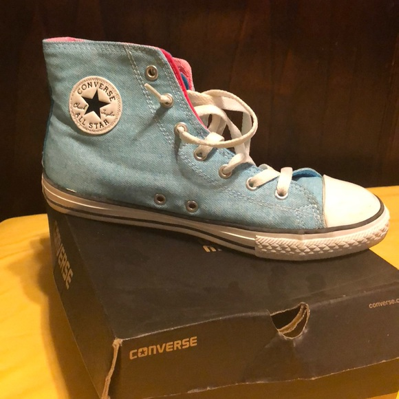 c6a9709de61560 Baby Blue High Top Converse JUNIOR SIZE 5